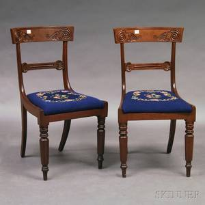 Pair of French Carved Walnut Empire Chairs