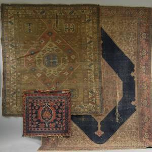 Shirvan Rug Senneh Rug and a Hamadan Bagface