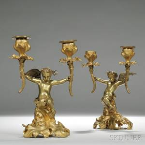 Pair of French 19th Century Giltbronze Figural Twolight Candlesticks