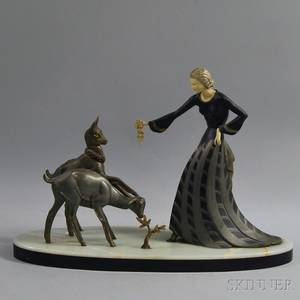 Art Deco Metal and Ivory Sculpture of a Woman Feeding Two Goats