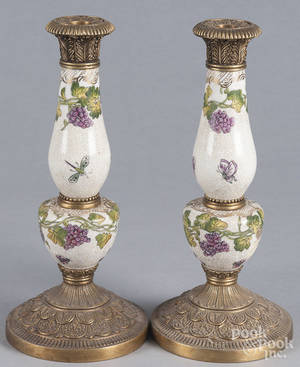 Pair of contemporary Chinese porcelain and brass candlesticks