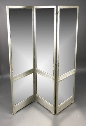 Art Deco Three Panel Mirrored Screen