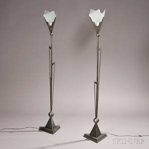 Pair of John Salterini Art Deco Torchieres