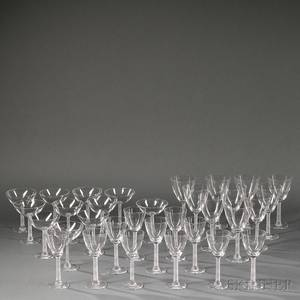 Thirtytwo Pieces of Lalique Phalsbourg Stemware