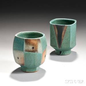 Two Jeff Oestreich American b 1947 Studio Pottery Yunomis