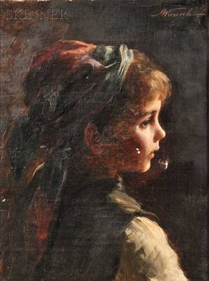 Marie Mizzi Wunsch German 18621898 Portrait of a Young Girl in Profile