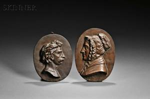 William Morris Hunt American 18241879 Two Oval Bas Relief Portrait Plaques Thomas Couture