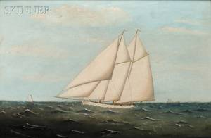 Clement Drew American 18061889 Schooner Under Full Sail