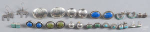 Fourteen pairs of Native American silver and hardstone earrings