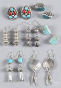 Seven pairs of Native American silver and hardstone earrings
