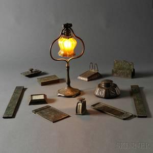Eleven Item Tiffany Studios Zodiac Pattern Desk Set Including Lamp