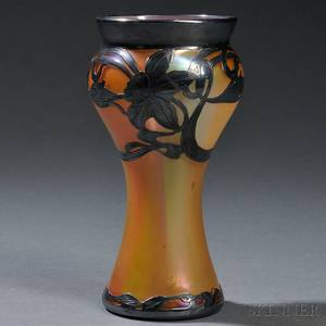 Gold Iridescent Vase with Silver Overlay