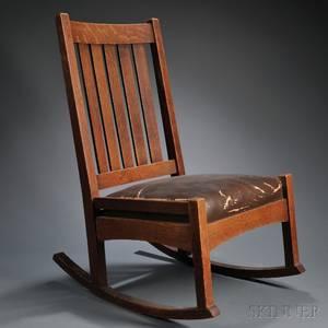 Arts  Crafts Oak Rocking Chair Attributed to L  JG Stickley