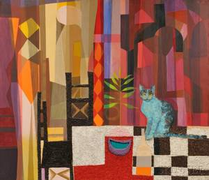 Anna Lou Louie Rhoades American 20th Century Still Life with Cat on a Table