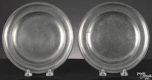 Two Hartford Connecticut pewter plates ca 1835
