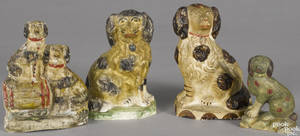 Three Pennsylvania chalkware spaniels 19th c