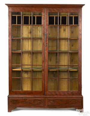 Rare New England painted pine china cupboard early 19th c