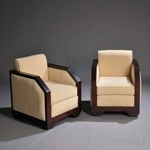 Pair of Art Deco Upholstered Lounge Chairs