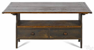 Pine bench table 19th c