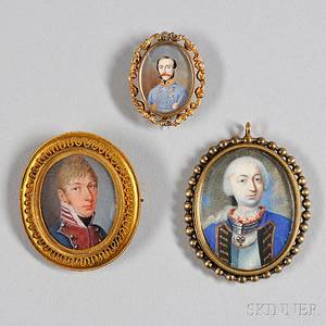 American or English School 18th19th Century Three Portrait Miniatures of Military Officers