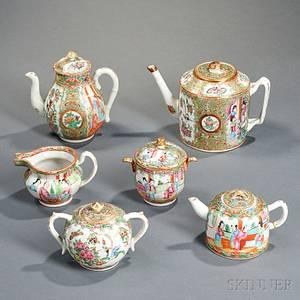 Six Rose Medallion Porcelain Tea Service Items