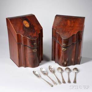 Two George III Mahogany and Mahogany Veneer Knife Boxes