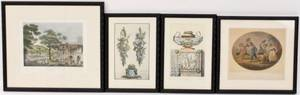 Group of Four Hand Colored Engravings