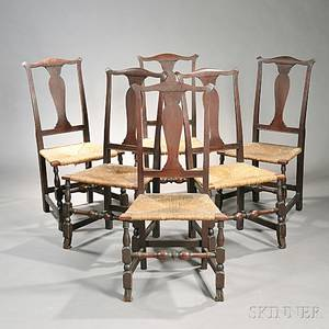 Set of Six Brownstained Maple Side Chairs