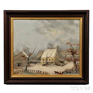 American School Late 19th Century Winter Farm Scene