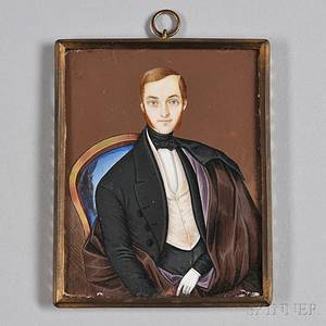 Continental School Mid19th Century Portrait Miniature of a Gentleman