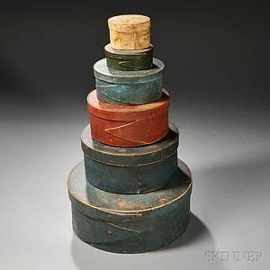 Six Round Painted Bentwood Pantry Boxes