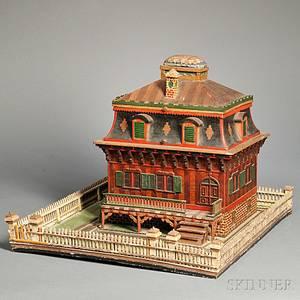 Paintdecorated Folk Art Victorian Houseform Sewing Box