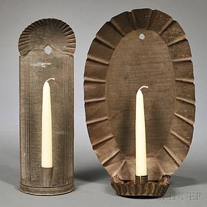 Tin Singlelight Sconce and Tin Singlelight Hanging Candlestick