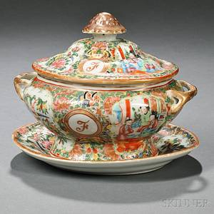 Chinese Export Porcelain Rose Medallion Sauce Tureen and Undertray