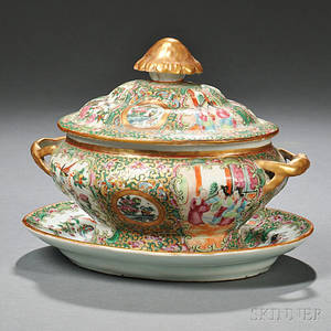 Rose Medallion Chinese Export Porcelain Sauce Tureen and Undertray