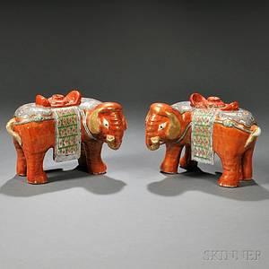Pair of Chinese Export Porcelain Rose Medallion Elephantform Incense Burners