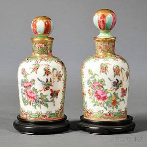Near Pair of Chinese Export Porcelain Rose Medallion Perfume Bottles and Stoppers
