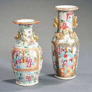 Two Chinese Export Porcelain Rose Medallion Vases