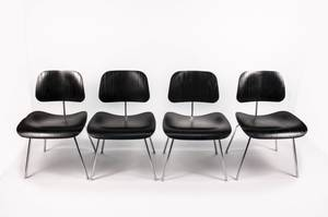Set of 4 Black Eames for Herman Miller DCM Chairs