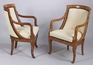 Pair of French Empire Circassian Walnut Fauteuils