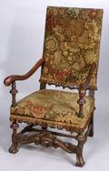 Continental Baroque Walnut Gros and Petit Point Needlework Upholstered Open Armchair
