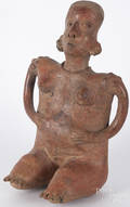 PreColumbian pottery figure of a seated woman