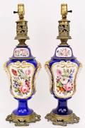 Pair of Old Paris Style Porcelain Lamps