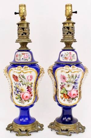 Pair of Old Paris Style Porcelain Lamps