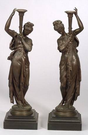 Pair of Large Bronze Figural Candleholders