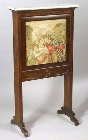 American Victorian Needlework Rosewood and Marbletop Billiard Ball Holder