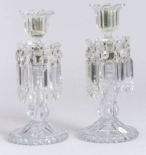 Pair of Colorless Molded Glass Mantle Lustres