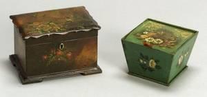 Two Victorian Painted Papier Mache Boxes