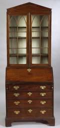 George III Style Mahogany Slantlid Bureau Bookcase