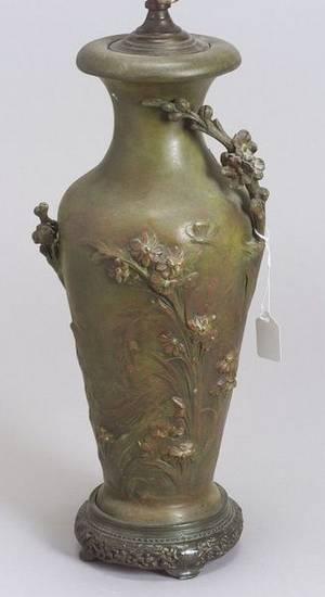 After August Moreau French active c 18601910 Art Nouveau White Metal Vase Lamp Base